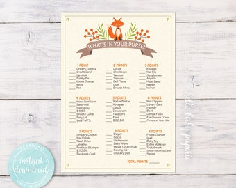 "What's In Your Purse Baby Shower Game  - Printable Purse Game - Woodland Fox Baby Shower - 5"" x 7"" Printable Digital File - 0006-N"