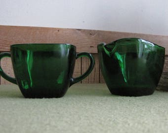 Forest Green Glass Cream and Sugar Bowl Anchorglass Charm Pattern Anchor Hocking 1950-1954 Dinnerware and Replacements