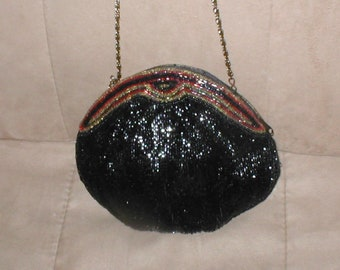Vintage Black with Jeweltones Beaded Evening Purse