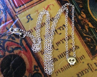 Super Tiny Silver Skull Necklace Pendant Charm Solid 925 Sterling Chain Choker Minimalist Dainty Petite