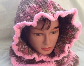Pink Camouflage Hooded Cowl