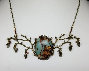 Necklace Autumn's Love - nature - branch - pinecone - Bohemian beads - necklace - copper gold - reality - forest Elf