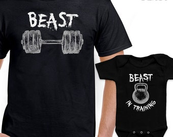 Matching Beast In Training Tshirt Set Fun Family Gift For Dad Mom Cute Baby  Bodysuit Combo 0c4e2b4140d