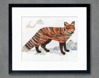 Red Fox with Mountains Art Print by Dolan Geiman