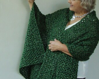 Green Shawls, Crochet Shawl, Crocheted Shawl, Shawls Wraps, Forest Green Shawl, Grandma Gift, Wraps Shawls, Wife Gift, Mom Gift