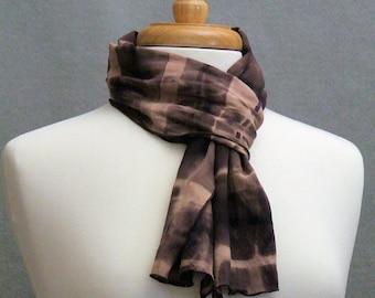 Soft Rayon Challis Unisex Scarf Shibori Shades of Brown Tan Black Abstract