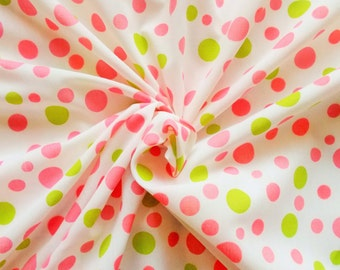 Vintage Polycotton Dress Fabric - 1960's/1970's - Pink and green spots on a white background - 1 piece - Unused