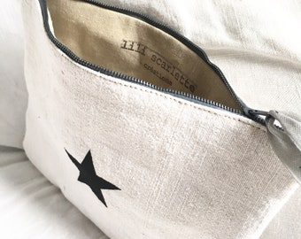 French linen fabric with Black Star case-pouch, lined linen zip