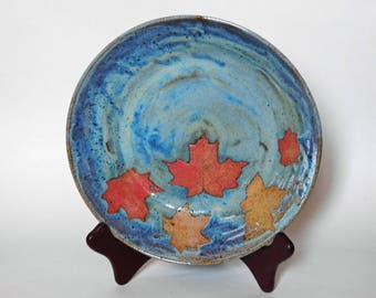 Blue Red Maple Leaves Platter