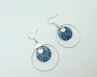 Earrings Fimo segahia blue pattern RING