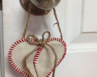 Authentic Baseball Heart Ornament.