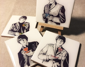 The Beatles Hand-Illustrated Ceramic Coasters, set of 4