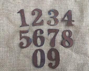 3 inch tin numbers, 3 inch rusty tin numbers, tin numbers, clock numbers, rusty metal numbers, metal numbers, tin clock numbers,