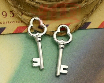 30pcs 8mm x 22mm Key Charms Antique Silver Tone 2 Sided Larger Size - SC2636