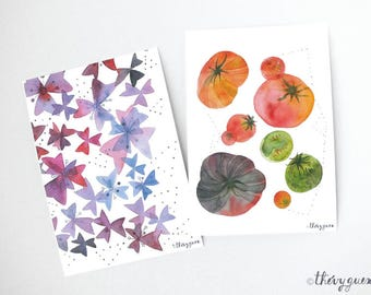 Tomato flower watercolor, Postcards, Flower card, Toùato card, Kitchen gift, Garden vegetable art, Vegetable stationery, Cute stationery