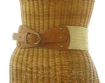 Ann Taylor des années 90 en cuir Cinch ceinture en laiton Rivets étirement retour neuf M/L