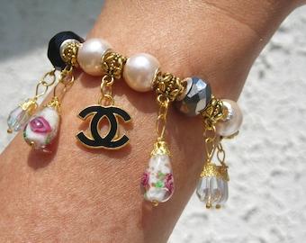 PARIS mode french fashion design charm European bracelet w. fx Pearl, SWAROVSKI crystal & LAMPWORK euro beads.