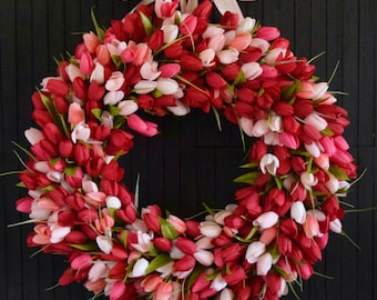 Red Blend Tulip Spring Summer Front Door Wreath - 24 inch diameter