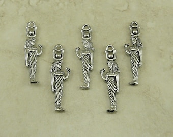 5 Egyptian Isis Standing Charms > Goddess Queen Ruler - Raw American made Lead Free Pewter in Silver tone finish - I ship internationally