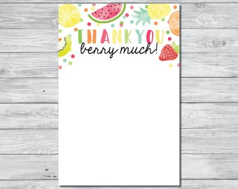 Tutti Frutty Thank You Card, Instant Download Thank You Card, Printable Thank You Card