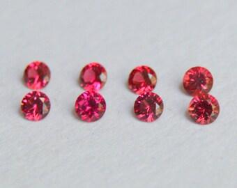 Burma Spinel, 2mm Spinel, Spinel Melee, Spinel rounds, Red Spinel, Neon Red Spinel