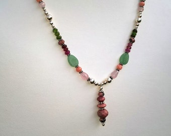 Open Heart Gemstone and Balinese Silver Necklace - Intentional Gemstone Jewelry for Heart Chakra Health and Healing