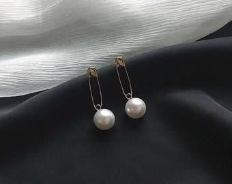 Gold Safety Pin Earrings Pearl Earrings Dangle Earrings Drop Earrings Simple Earrings Gift for Her
