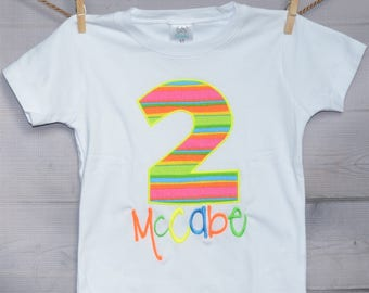 Neon Number Unicorn or Roller Skate Birthday Applique Shirt or Bodysuit Boy or Girl