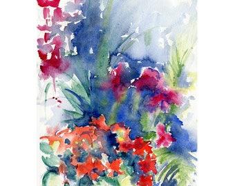 Blue Summer Crescendo Original Watercolor Painting