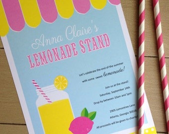 Lemonade Stand Printable Invitation
