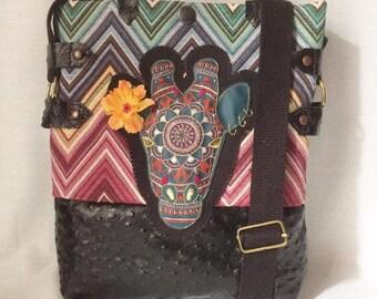Leather bag, embroidered bag, giraffe, hippie bag, chevron, ethnic bag.