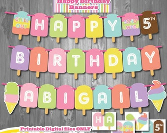 Ice Cream Birthday Party Banner-Printable Ice Cream Party Banner-Ice Cream First Birthday-Popsicle Party-Summer Ice Cream Birthday Party