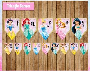 Disney Princess Banner, Printable Princess Triangle Banner, Disney Princess party Banner Instant download