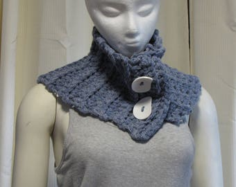 Buttoned Denim Neck Warmer - Crochet