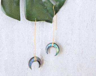 Abalone Threader Earrings, Gold Abalone Earrings, Abalone Crescent Earrings, Gold Paua Earrings, Paua Threader Earrings, Island Ashes