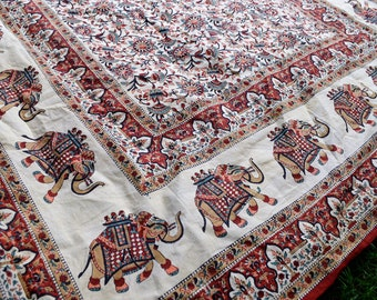 Vintage 80s 90s Elephant Cotton Tapestry Bedspread Wall Decor
