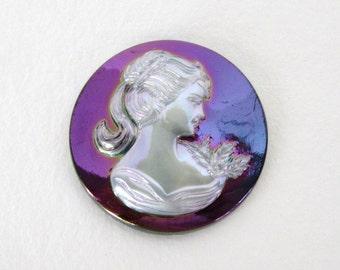 Vintage Plastic Cameo Off White Lady Iridescent Purple Cabochon Woman Profile Head 30mm pcb0365 (1)