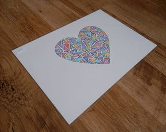 Rainbow - A4 Original Love Heart Illustration