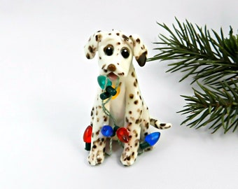 Dalmatian Liver Porcelain Christmas Ornament Figurine Lights OOAK