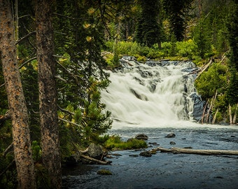 Lewis Waterfall on the Lewis River in Yellowstone National Park Wyoming No. 6917 - A Fine Art Nature Landscape Photograph