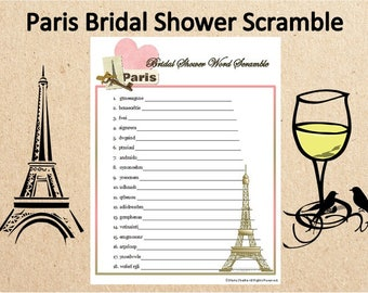 Printable Parisian Themed Bridal Shower Word Scramble~French Wedding Shower Word Game~Paris Wedding Printable Game~Paris Wedding Word Game