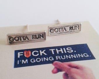 Gotta Run Jewelry - Gotta Run Studs - Running Jewelry - Running Studs - Runner Sterling Silver Studs - Marathon Sterling Silver studs