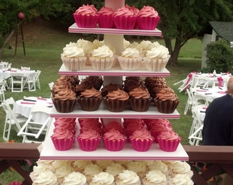 7 Tier Square Custom Made Cupcake Stand With 1/2 inch Thick Tiers.  Holds Up To 204 Cupcakes. Can be Painted Different Colors