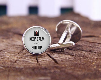 Keep Calm And Suit Up Cufflinks, Suit Up Cufflinks, Custom Keep Calm Cufflinks, Custom Wedding Cufflinks, Groom Cufflinks, Tie Clips, Or Set