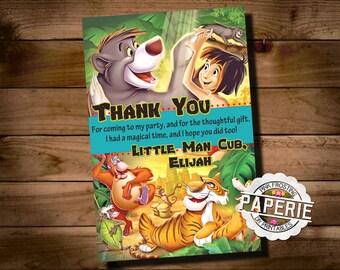 JUNGLE BOOK Birthday Thank You, Disney Jungle Book, Printable Invitation, Jungle Thank You, Jungle Book Invitation,