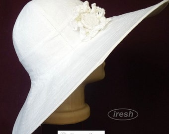 Wide-brimmed hats, A hat with a wide brim, Broad-brim, White hat, Women's hat, Summer hat, Linen hat, Flaxen clothes