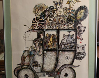 Vintage Rare Large Animal Fun Car by Rabindra Danks Lithograph