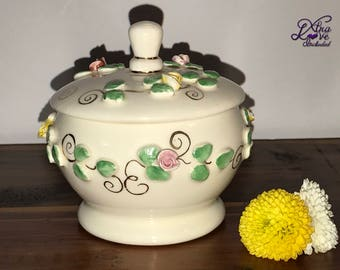 Vintage Ceramic Round Trinket Box, Raised Roses Trinket Box, Pink Rose Covered Dish, Round Candy Dish with Lid
