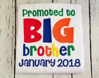 Promoted To Big Brother, Big Brother Shirt, Big Brother Gift, Big Brother Announcement, Sibling Outfit, Big Brother Little, Pregnancy