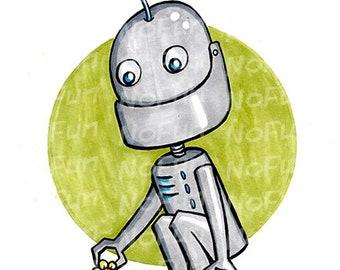 March of Robots - Cute Flower Robot Bot Art Print by Reb NoFun